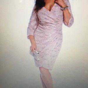 Alex Evenings Plus Size Sequined Faux-wrap Dress